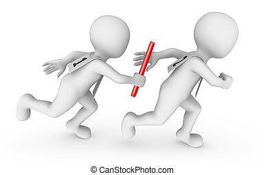 passen, relay, mensen, baton., kleine, 3d