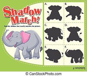 passend, spiel, schatten, schablone, elefant