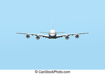 Passenger Air Plane Flying - Passenger air plane flying in...