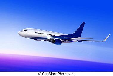 passenger aircraft in beautiful sky