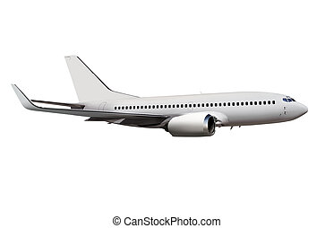 passenger aircraft isolated on bg - commercial airplane...