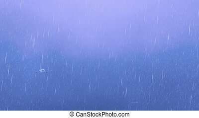Passenger airliner flying in hazy night sky at lightning storm with heavy rain. Realistic 3D animation rendered in 4K, ultra high definition.