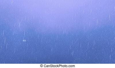 Passenger airliner at lightning storm night sky 4K -...
