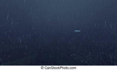 Passenger airliner at rainy night sky 4K - Passenger...
