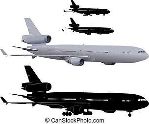 Illustration of three-engine passenger airliner