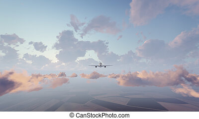 Passenger airliner in the sky front view