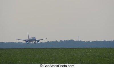 Passenger airliner lands on runway in airport.