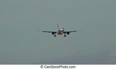 Passenger airplane before landing