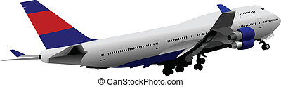 Passenger Airplane. Colored Vector illustration for...