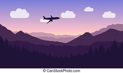 passenger airplane flies through the clouds over mountain and forest landscape illustrated animation