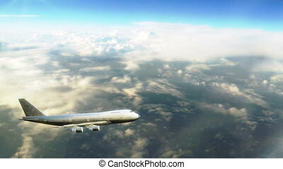 Big passenger airplane Boeing flying above the clouds