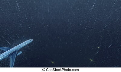 Passenger airplane flying high in the night sky at stormy weather with heavy rain. Realistic 3D animation rendered in 4K, ultra high definition.
