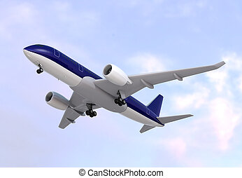 Passenger airplane flying in the sky. 3D rendering image.