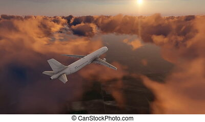 Passenger airplane flying above dramatic sunset clouds high in the sky against setting sun. Realistic 3D animation rendered in 4K, ultra high definition.