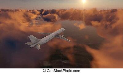 Passenger airplane in sunset cloudy sky 4K - Passenger...
