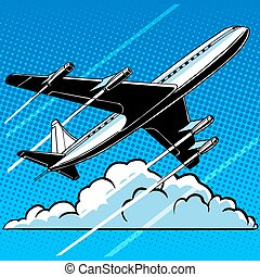 Passenger airplane in the clouds retro background