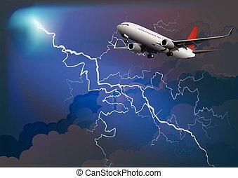 Passenger airplane in thunderstorm - Dramatic thunderstorm ...