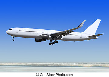 passenger airplane is landing - small passenger airplane is...
