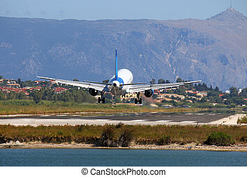 passenger airplane landing on Corfu airport