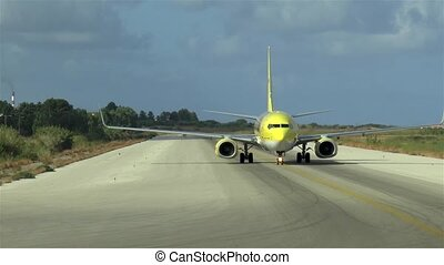 Passenger airplane on taxiway.