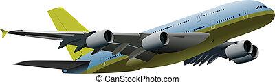 Passenger airplane on the air. Vec