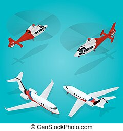 Passenger Airplane. Private jet. Passenger Helicopter. Isometric Transportation. Aircraft Vehicle. Air Transportation. Vector illustration.