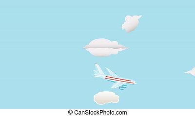 Passenger airplanes. Animation of passenger airplanes. Three...