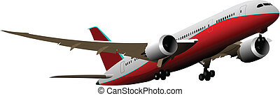 Passenger Airplanes.  Colored Vector