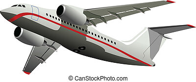 Passenger Airplanes.  Colored Vect