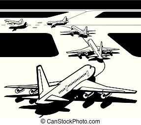 Passenger airplanes waiting for take-off from airport-...