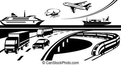 Passenger and cargo transportation scene - vector illustration