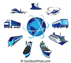 Passenger and cargo transportations around the world - vector illustration