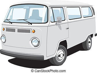 Passenger and cargo van - Vector isolated van, passenger and...