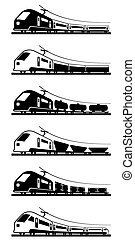 Passenger and freight trains - vector illustration