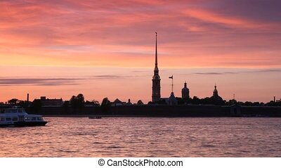 Passenger boat floats across Neva by Peter and Paul Fortress...