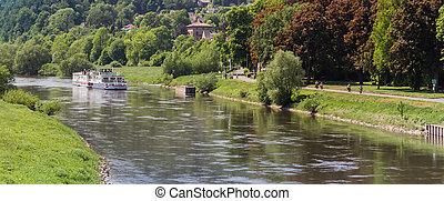 Passenger boat on the Weser river near Hoxter
