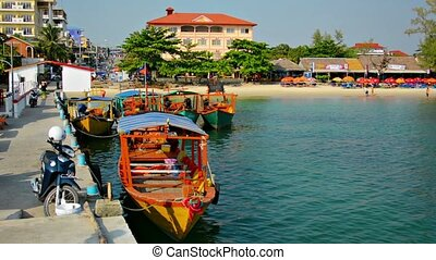 Passenger Boats Docked in Sihanoukville, Cambodia - Five...