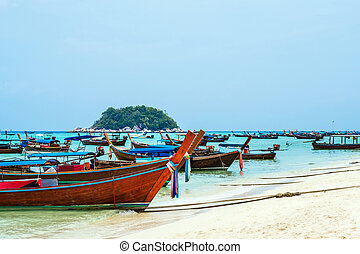 Passenger boats on the beach