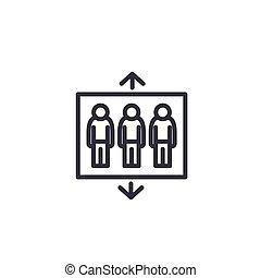 Passenger building lift linear icon concept. Passenger building lift line vector sign, symbol, illustration.
