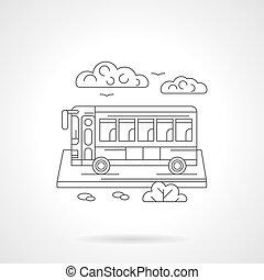 Passenger bus detailed line vector illustration