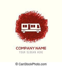Passenger bus icon - Red Water Color Circle Splash