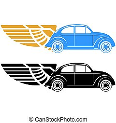 Passenger car - Abstract car on abstract wings. The ...