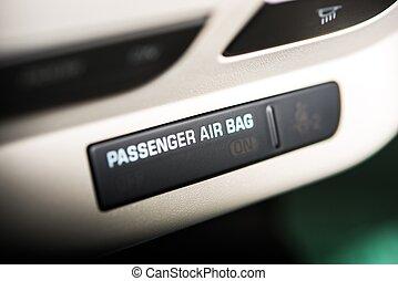 Passenger Car Air Bag On Off Indicator. Modern Car Safety...