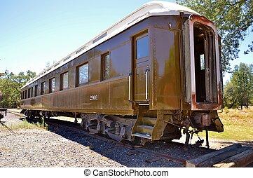 an old train passenger car