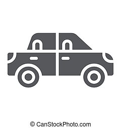 Passenger car glyph icon, transport and automobile, vehicle sign, vector graphics, a solid pattern on a white background.