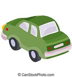 passenger car green color, cartoon illustration, isolated ...