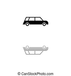 Passenger car icon flat - Passenger car. Black symbol on ...