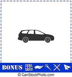Passenger car icon flat. Simple vector symbol and bonus icon