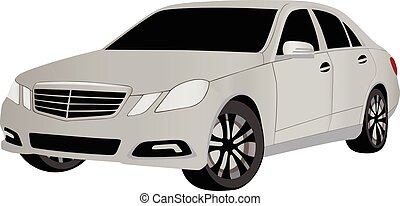 passenger car in vector on white background