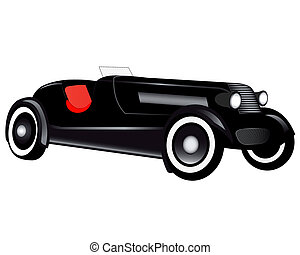 passenger car - retro car passenger on a white background